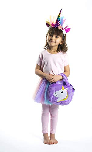 Girls Rainbow Unicorn Tutu Set - 4PC -Bag - Pastel Colors w/Layered Dress Skirts - Headband - for Age 5-6 Years Old Costume - Little Girl Princess - Lavender - Pink - Unicorn Birthday - Halloween ()