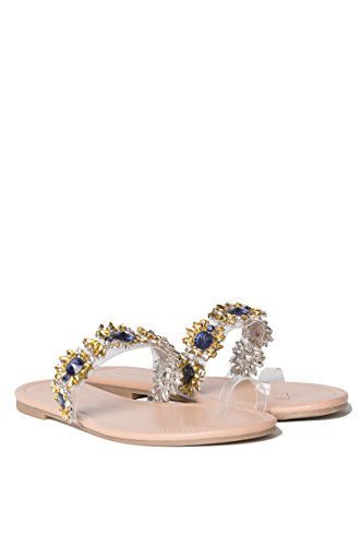 AKIRA Womens Happy Days Jeweled Sandals Nude