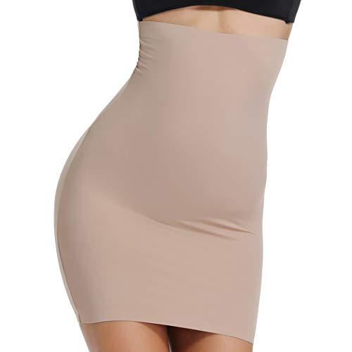 WOWENY Half Slip for Under Dresses Shapewear High Waist Skirt Halfslip Dress for Women Tummy Control (Nude, L)