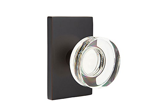 Emtek Products Crystal Knob - Privacy Set, Modern Rectangle Rosette, Modern Disc Crystal Knob, Oil Rubbed Bronze