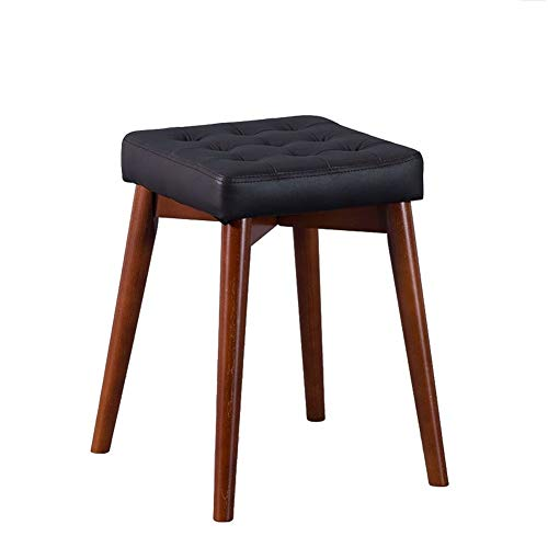 - Hanging support to relax legs and feet Footstools Solid Wood Square Sturdy Stool Chair Black Cowhide Dining Stool Makeup Dressing Bench compatible bathroom Household sofa side desk ( Color : A )