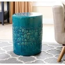 Garden Stool Finish (Outdoor Garden Stool, Accent,Ceramic,Sophisticated,Teal Finish)