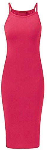MIXLOT Damen High Neck Plain Spaghetti Bodycon Strappy Cami Sommer Midi Kleid Heißes Rosa Sb1vhUPFav
