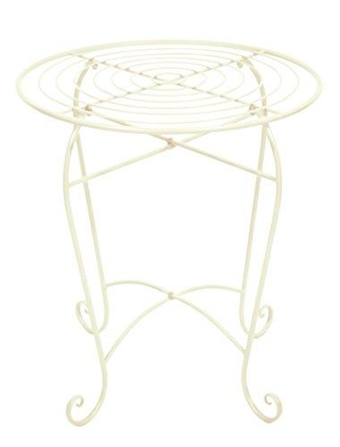 east2eden Cream 50cm Round Metal Patio Bistro Garden Furniture Table