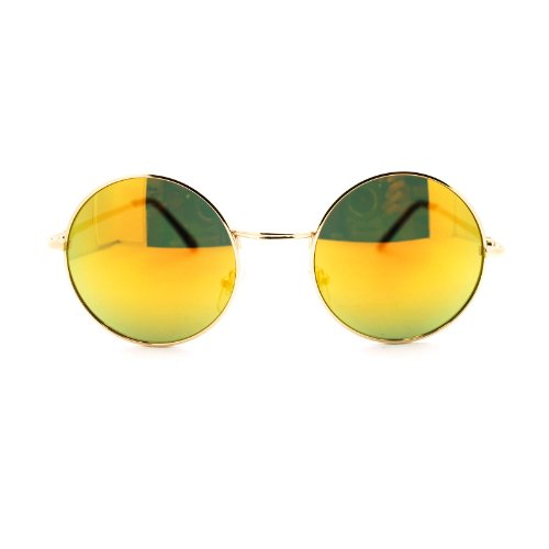 John Lennon Circle Lens Revo Mirror Lens Wire Rim Round Sunglasses Gold - Glasses 70s Circle
