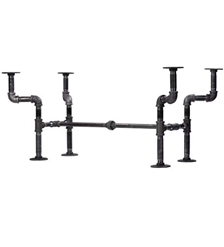 Industrial Pipe Decor Coffee Table Leg Set, Rustic Living Room Office Table Base Kit, Dark Grey/Black Rough Pipes Vintage Furniture Unfinished Steel Metal Heavyweight Construction, Streetlights Design (Only Coffee Table Bases)