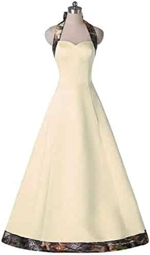 8fbfb80809c68 DINGZAN Camo Bridal Reception Dresses Bridesmaid Gowns for Wedding Guest  Halter