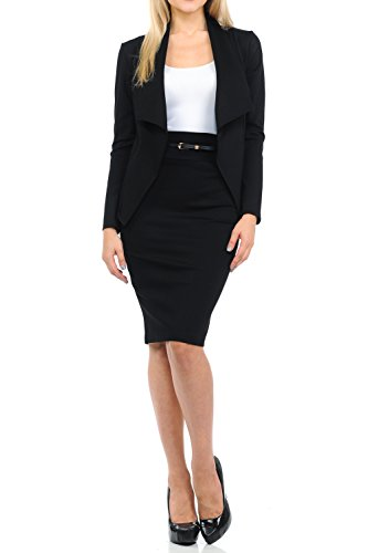 Sweethabit Womens Two Piece Wear To Work Solid Blazer and Pencil Silhouette Skirt,Pants Set (XLarge, - Two Suit Black Piece