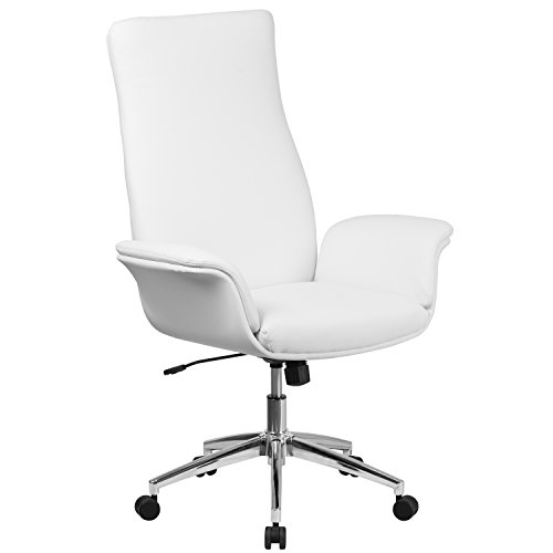 Flash Furniture High Back White Leather Executive Swivel Chair with Flared Arms