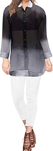 LA LEELA Women's Plus Size Hawaiian Shirt Aloha Blouse Tops Shirt XL Grey_X226