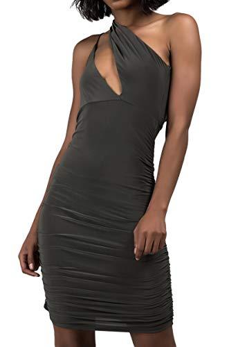 AKIRA Women's Slinky One Sleeve Cutout Ruched Sides Open Back Sexy Stretch Bodycon Midi Dress-Olive (Slinky Open Back Dress)