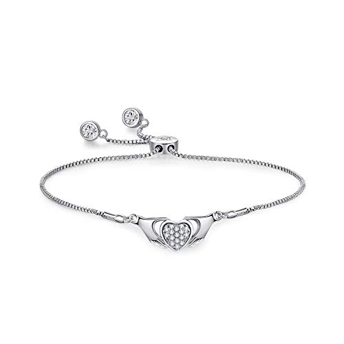 Love Claddagh Heart Shaped Charm Expandable Bolo Bracelet with Sparkling Cubic Zirconia Adjustable White Gold Plated Women Jewelry ()