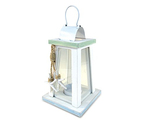 Puzzled Ocean Breeze Lantern Nautical Décor - Beach Theme - Unique Gift and Souvenir - Item #9441 (White Wooden Lanterns Decorative)