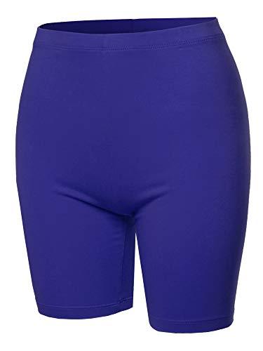 (A2Y Basic Solid Cotton Mid Thigh High Rise Biker Bermuda Shorts Denim Blue 1XL)