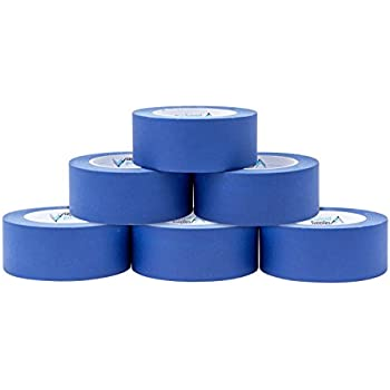 6 Pack 1.88 Inch Blue Painters Tape, Medium Adhesive That Sticks Well but Leaves No Residue Behind, 60 Yards Length, 6 Rolls, 360 Total Yards