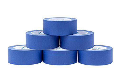 6 Pack 1.88'' Blue Painters Tape, medium adhesive that sticks well but leaves no residue behind, 60 yards Length, 6 Rolls, 360 Total Yards