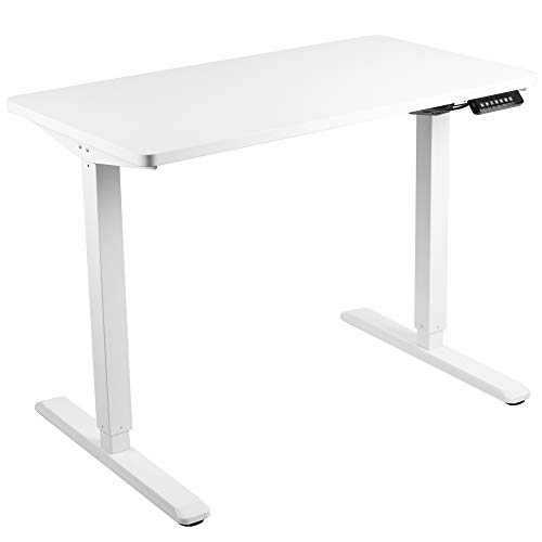 VIVO Electric 43 x 24 inch Stand Up Desk, White Solid One-Piece Table Top, White Frame, Height Adjustable Standing Workstation with Memory Preset Controller (DESK-KIT-1W4W)