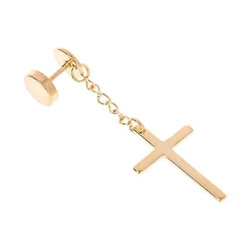 Kofun Earrings, 1 Piece Cross Earrings Dangle Long Drop Jewelry Titanium Steel Gold Silver Charms Unisex Women Men Pendant Chain Party Gifts Gold
