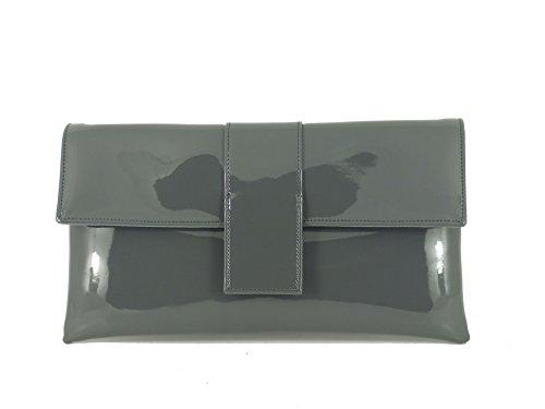 Cuir Grey Occasion Fête Dark Pochette Main Simili Élégant Charcoal Verni Sac Bandoulière Loni À Zf0n0A