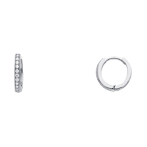 Solid 14k White Gold Huggie Hoop Earrings CZ Small Huggies Round Pave Set Stylish Fancy Tiny 10 mm ()