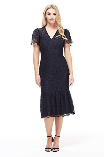 Flounce Dress Lace (Maggy London Womens's Lin Flounce 8 Navy)