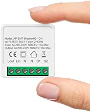 Mini Interruptor inteligente 16A wifi diy suporta 2 vias de controle, módulo de automação residencial intelige