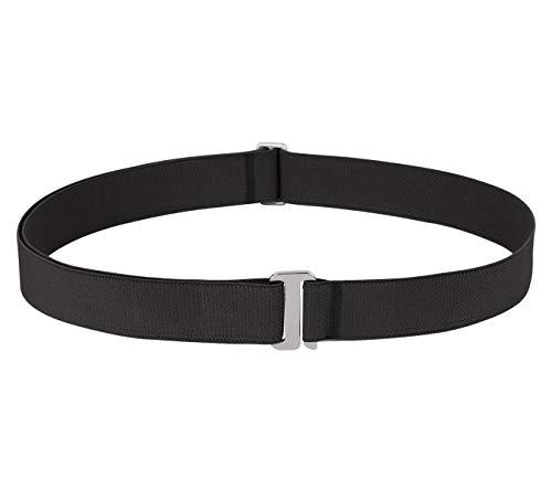 No Show Stretch Belts for Women, SANSTHS Invisible Adjustable Belt for Jeans Pants, Black Plus Size ()