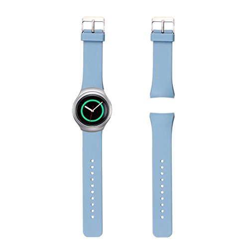 Malloom Women Men Luxury Silicone Smart Watch Replacement Band Strap for Samsung Galaxy Gear S2 SM-R720 (Blue)