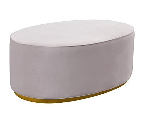 TOV Furniture TOV-OC7226 The Scarlett Collection Modern Velvet Upholstered Oval Ottoman, Blush