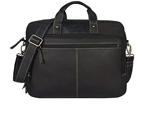 Leaderachi Genuine Leather Laptop Messenger Briefcase Bag