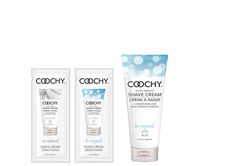 Coochy Rash Free Body Shave Cream, 8 oz Oh So Original Scent (Safe for All Body Parts Including Face and Intimate Areas) + Free 15ml Au Natural Sample Pack