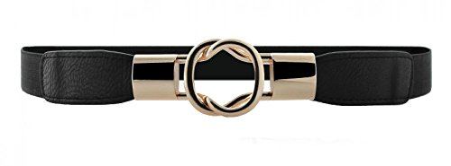 Women Metal Fashion Skinny Leather Belt Gold Elastic Buckle belt solid color, black1, M-L(29