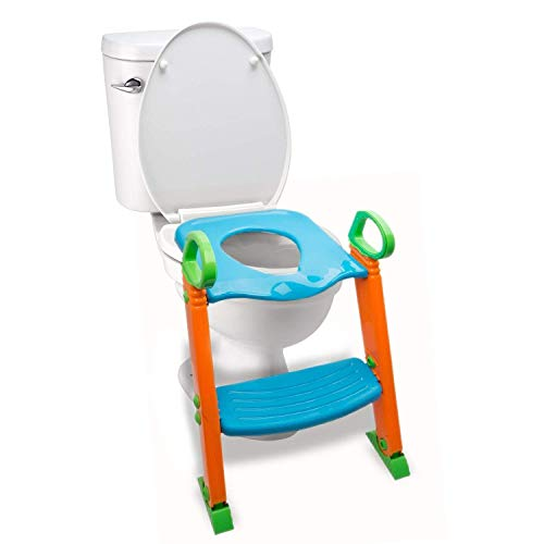Alayna Potty Toilet Seat with Step Stool ladder, (3 in 1) Trainer for Kids Toddlers W/ Handles. Sturdy, Comfortable, Safe, Built In Non-Slip Steps W/ Anti-Slip Pads, Potty Seat Step Boys Girls Baby