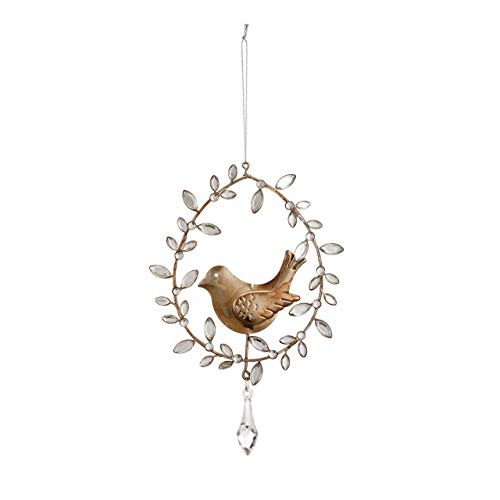 (DEMDACO Bird in Jeweled Wreath Silver Tone 8 x 5 Wire and Acrylic Christmas Ornament)
