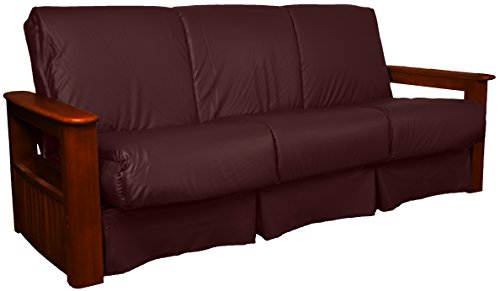 Chicago Storage Arm Style Perfect Sit & Sleep Pocketed Coil Inner Spring Pillow Top Sofa Sleeper Bed, Full-size, Mahogany Arm Finish, Leather Look Bordeaux Upholstery (Bordeaux Full Futon Set)