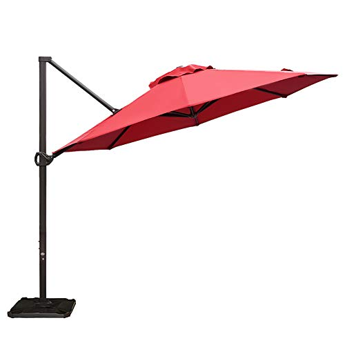 - Abba Patio 11 Ft Offset Patio Umbrella with Crank Lift and Tilt and Cross Base, Dark Red