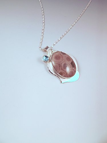 Michigan Petoskey Stone and Blue Topaz Pendant- December Birthstone- Michigan Made- State Stone- Fossil- Metal Art Petoskey Necklace