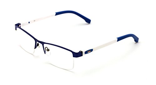 V.W.E. Men Half Rimless Rectangular Non-prescription Glasses Frame Clear Lens Eyeglasses - Prescription Mens Glasses