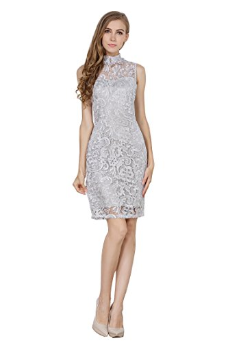Little Smily Women's Crochet Lace Form Fitting High Neck Cocktail Bodycon Dress, Silver Grey, M