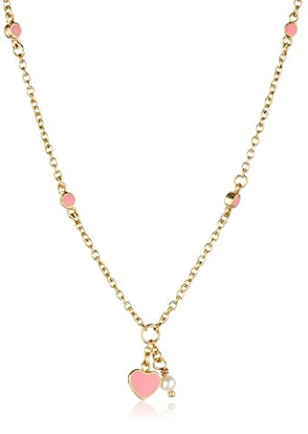 Little Miss Twin Stars 14k Gold-Plated Pink Enamel Heart and White Pearl Chain Necklace (Little Miss Twin Stars Necklace)
