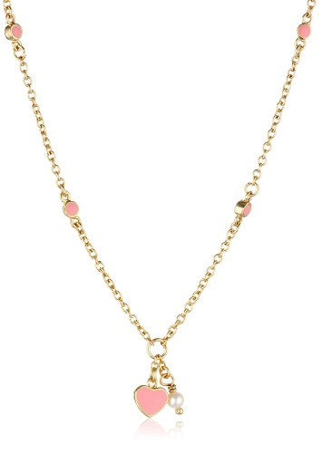 Price comparison product image Little Miss Twin Stars 14k Gold-Plated Pink Enamel Heart and White Pearl Chain Necklace