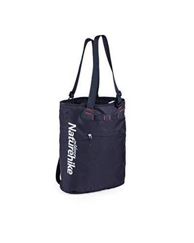 HYSENM Unisex 15L Nylon Drawstring Water Repellent Lightweight Casual Travel Shopping Daily Use Shoulder Bag Handbag Backpack Rucksack for 15.6 Inch Laptop Notebook, Black