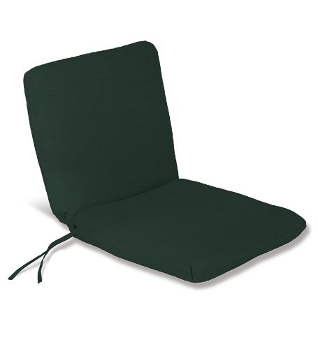 Weather-Resistant Outdoor Classic Chair Cushion with Ties in Forest Green ()