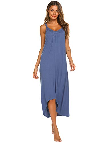 Ekouaer Sleeveless Nightgown Women's Cotton V Neck Sleepwear Dress Trim - Cotton Sleepwear Womens Chemise Nightgowns