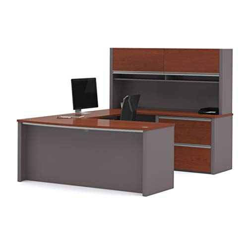 (Bestar Connexion U-Shaped Workstation with Two Oversized Pedestals, Bordeaux/Slate)