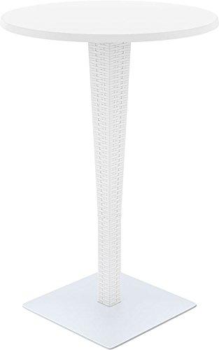 CLP Tavolo da bar outdoor RIVA, tondo, diametro 70 cm, altezza 108 cm, aspetto rata, pregiati fattura, vari colorei, adatto per la ristorazione Bianco