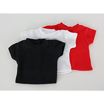 American Fashion World 3 Pack Doll T-Shirts Black, Red, and White fits 18 Inch Doll: Toys & Games