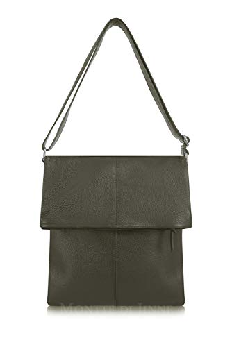 Montte Di Jinne - | 100% Real Italian Leather|Large | Fold Over | Shoulder | Cross Body |Bag| Luxury Gift for Women Olive Green
