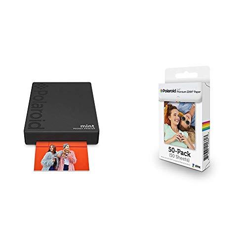 Polaroid Mint Pocket Printer - Black with Polaroid 2x3ʺ Premium Zink Zero Photo Paper 50-Pack