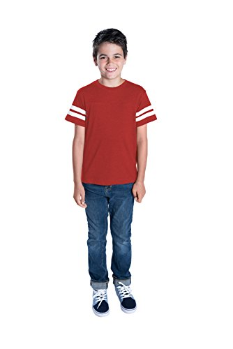 LAT Apparel Youth 100% Cotton Vintage Football Jersey Tee [Medium] Vintage Burgandy/ White Short Sleeve T-Shirt